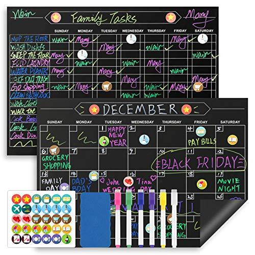 Magicfly Magnetischer Kühlschrank Kalender, 43 x 30 cm 2 Stück Magnetischer Monatsplaner mit Löschbaren Stiften, Radiergummi, Kühlschrankmagnete für Familie Kinder