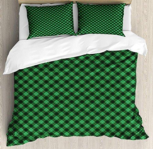 Plaid 3 Stück Bettwäsche Bettbezug Set, Diagonal Tartan Lebendige Grüne Farbe Geometrisches Design mit Streifen und Karos, 3 Stück Tröster / Qulit Bezug Set mit 2 Kissenbezügen, Grün Schwarz Weiß -