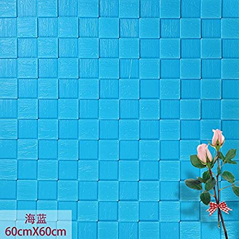 Self-adhesive wallpaper mosaic woodgrain TV wall brick-wall paper 3d stereoscopic wall living room tastefully furnished bedrooms 60*60cm*1, posted the wood-grain Marina Blue