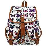 Owbb® Weiß Leinwand Schmetterling Drucken Damen Mädchen Rucksack Reisetasche/ Kinder Butterfly Design Rucksäcke
