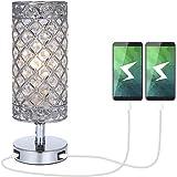 Lámpara de Mesa de Cristal,Tomshine Lámpara Mesilla de Noche, Doble USB Recargable, Pantalla de Lámpara Plateada con Cristal