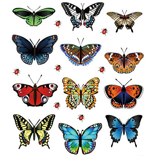 FENSIN Schmetterlingsaufkleber Neu Landschaftsgestaltung Dekoration Herzförmige Aufkleber