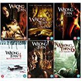 Wrong Turn 1 - 6 Complete DVD Collection : Wrong Turn / Wrong Turn 2: Dead End - Extreme Edition / Wrong Turn 3 - Left For Dead / Wrong Turn 4: Bloody Beginnings / Wrong Turn 5: Bloodlines / Wrong Turn 6: Last Resort + Extras + Commentaries + Director's Die-ary's + Deleted scenes by Eliza Dushku