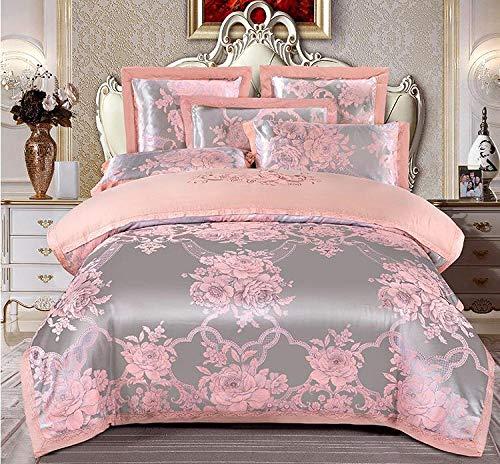 FZKJJXJL 4 Stück Satin Bestickte Bettwäsche-Sets Kingsize-Bett Bettbezug Spannbetttuch Kissenbezüge Set by,Pink-220X240CM -