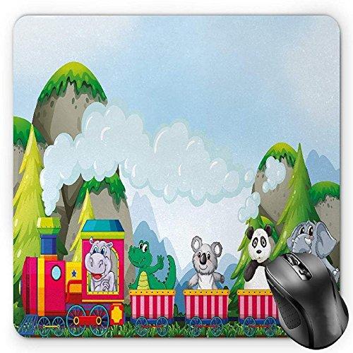 Preisvergleich Produktbild HYYCLS Kids Mauspads,  Various Animals Riding on Train in the Park with Mountains Cartoon Style Illustration,  Standard Size Rectangle Non-Slip Rubber Mousepad,  Multicolor