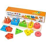 Jouets en Bois Enfant Formes À Trier Empiler Jeu de Tri Couleurs, Puzzles Bois en Éducatif lapprentissage Géométriques Formes