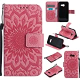For Samsung Galaxy A3 2017 Case [Pink],Cozy Hut [Wallet Case] Magnetic Flip Book Style Cover Case ,High Quality Classic New design Sunflower Pattern Design Premium PU Leather Folding Wallet Case With [Lanyard Strap] and [Credit Card Slots] Stand Function Folio Protective Holder Perfect Fit For Samsung Galaxy A3 2017 - Pink