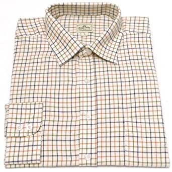 Hoggs of Fife Pure Cotton Tattersall Check Shirts Tan/Navy/Green Large