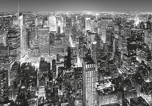 Papier peint photo Midtown New York photo, papier peint, wall mural, grand format 366x254 cm, ville, noir et blanc, New York, États-Unis, USA, ville, gratte-ciel, vue, lumières, nuit, by night,