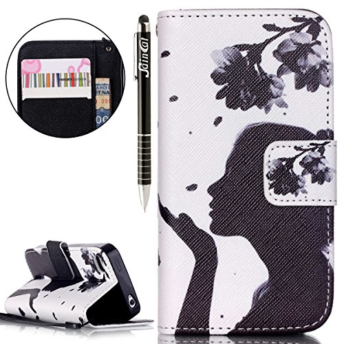 SainCat Coque Etui pour Apple iPhone 4 Cover Bumper,Anti-scratch Cuir Dragonne Portefeuille PU Cuir Etui pour iPhone 4s,Coque de Protection en Cuir Folio Housse,SainCat PU Leather Case Bling Diamond B fille de fleur