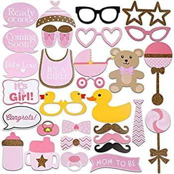 FENICAL 29pcs Baby Shower Photo Props, Baby Bottle Masks Pink Photobooth  Props Newborn Girl Gift