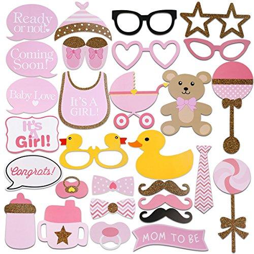FENICAL 29pcs Baby Dusche Foto Requisiten, Baby Flasche Masken rosa Photobooth Requisiten neugeborenen Mädchen Geschenk Party Dekorationen (Baby-dusche-party-geschenke Für Die Gäste)