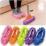 Zantec 2 Stück Multifunktions Chenille Schuhe Mop House Clean Schuh Slip on Reinigung Hausschuhe