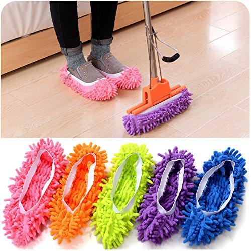 Chenille-2 Stück (Zantec 2 Stück Multifunktions Chenille Schuhe Mop House Clean Schuh Slip on Reinigung Hausschuhe)