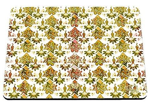 hippowarehouse Floral Damast Pfau Muster bedruckt Mauspad Zubehör Schwarz Gummi Boden 240mm x 190mm x 60mm, rot / grün, Einheitsgröße