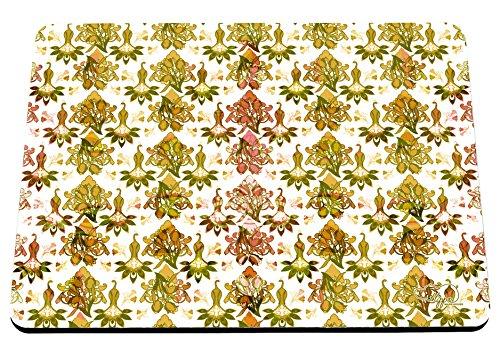 hippowarehouse Floral Damast Pfau Muster bedruckt Mauspad Zubehör Schwarz Gummi Boden 240mm x 190mm x 60mm, rot / grün, Einheitsgröße Bush Stift