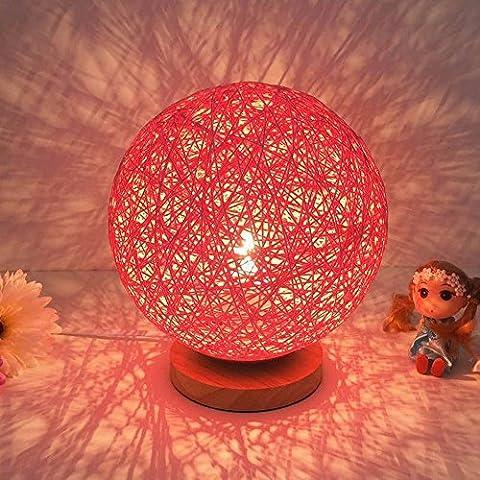 LikeIt Tischlampe Handgefertigte Rattan-gewebt für Schlafzimmer Wohnzimmer LED Nacht Nachttischlampe, rot