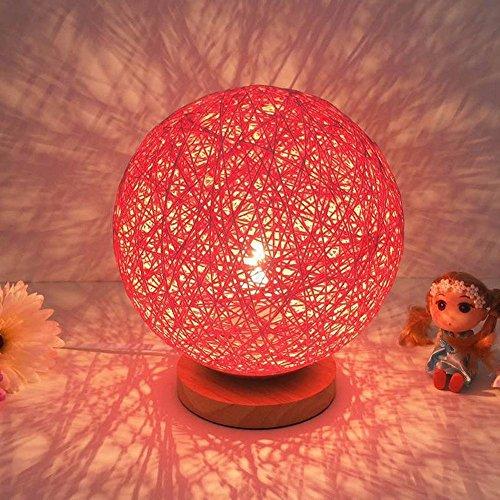 Preisvergleich Produktbild LikeIt Tischlampe Handgefertigte Rattan-gewebt für Schlafzimmer Wohnzimmer LED Nacht Nachttischlampe, rot