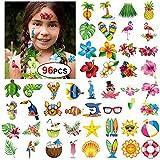 Konsait Tatuajes Temporales para Niños Niñas Adultos, 96pcs Hawaiana Tropical Tatuaje Falso Pegatinas para Decoración de Fiesta de Verano, Infantiles Fiesta de Cumpleaños Regalo Bolsas Relleno