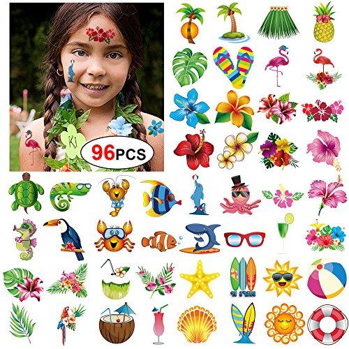 Konsait 96 Sommer Strand Schwimmbad Hawaii Luau Themen Temporäre Tattoos Tätowierung Wasserdicht Aufkleber Körper Tattoos für Kinder und Frauen Mädchen , Tropische Party Dekoration, partyspiele (Tattoo Tropische Blume)
