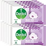 Dettol Disinfectant Sanitizer Wet Wipes for Skin & Surfaces, Safe and Ideal, Moisture-Lock Lid, White, Floral, 10 Count, Pack