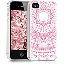 kwmobile Funda para Apple iPhone 4 / 4S - forro de TPU silicona cover protector para móvil - Case Diseño Sol hindú rosa claro blanco