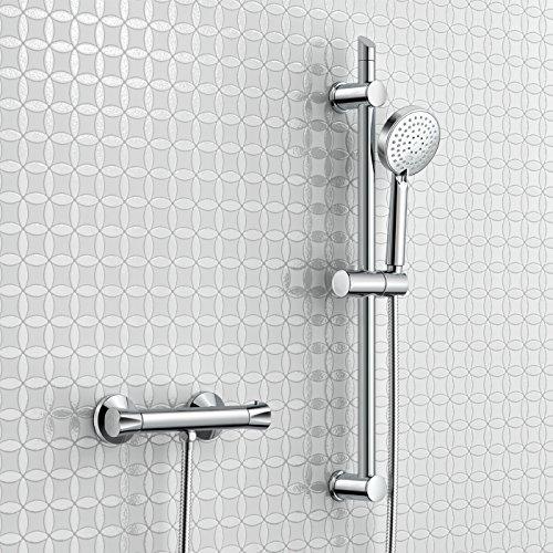 Chrom Thermostatische Duscharmatur, Badewannenarmatur Duschstange + Multifunktions-Handbrause.