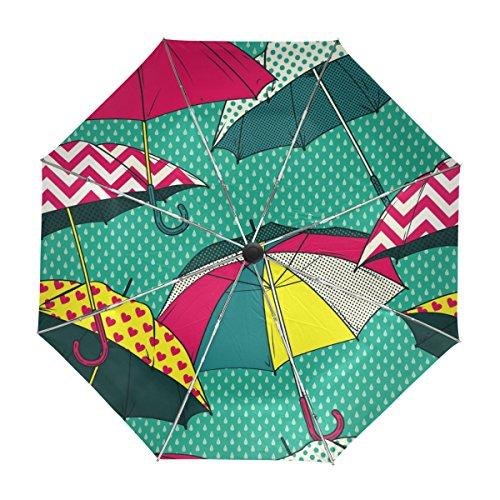 ALAZA Cómico Retro Viaje Paraguas de Apertura automática Cerca de Protección UV a Prueba de Viento Ligero Paraguas