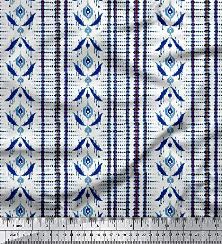 Soimoi 58 Zoll breit Sewing Gewebe Rayon Viscose 115 GSM Indigo Blue Shibori Print Schneiderei Material durch Das Messgerät - Indigo Blue Bekleidung