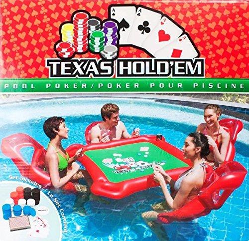 AlienTech aufblasbar Wasser Toys Poker Game Adult Swim Ring Reittiere aufblasbar Floating Bett Schwimmende Zeile Toys - Mit Erwachsenen Tisch Stühlen Spiel,