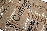 Teppich Modern Flachgewebe Gel Läufer Küchenteppich Küchenläufer Braun Beige Schwarz Creme mit Schriftzug Coffee Cappuccino Espresso Macchiato Größe 80×150 cm - 3
