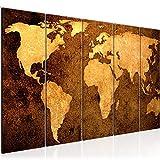 Bilder Weltkarte World map Wandbild 150 x 60 cm Vlies - Leinwand Bild XXL Format Wandbilder Wohnzimmer Wohnung Deko Kunstdrucke Braun 5 Teilig - MADE IN GERMANY - Fertig zum Aufhängen 101756a