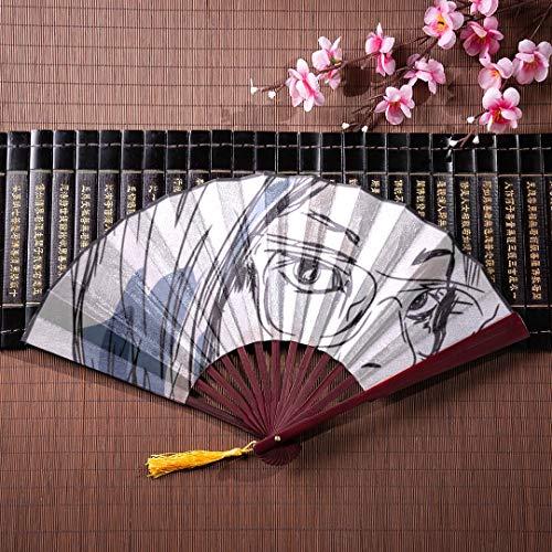 EIJODNL Farbe Faltfächer schöne Frau mit Sonnenbrille mit Bambusrahmen Quaste Anhänger und Stoffbeutel Papier Handfächer chinesische persönliche Fan Folding Holzfächer