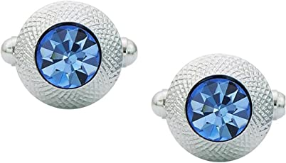 TRIPIN Cufflinks for Men Branded Silver Unique Shape with Blue Diamond Crystals for Office Corporate Wedding Party French Cuff Shirts Shirt Suit Blazer in A Gift Box