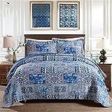 ADGAI 3-TLG. Gesteppte Tagesdecke Double King Size, leichtes Bettdecken-Set für die ganze Saison mit 2 Kissenbezügen, 230 x 250 cm, blau