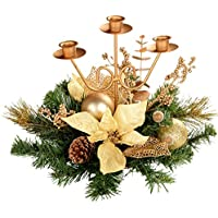 WeRChristmas Decorated Triple Tape Candle Holder Table Christmas Decoration, 25 cm - Cream/Gold
