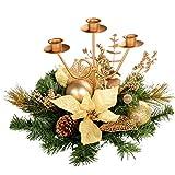 WeRChristmas - Centrotavola natalizio con 3 portacandele, 22 cm, colore panna/oro