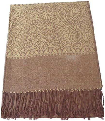 oro-marrone-paisley-disegno-scialle-di-pashmina-sciarpa-stola-dellinvolucro-cj-apparel-nuovo