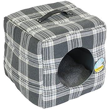 Me & My Pets - Lit de luxe pour animaux - en forme de boîte - pour chat/petit chien - coussin en polaire -carreaux/gris