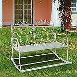 Outsunny - Panchina a Dondolo Biposto da Giardino stile Shabby in Ferro 102 x 74.5 x 78cm, Bianco immagine