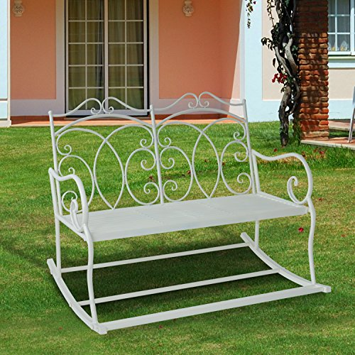 Outsunny – Panchina a Dondolo Biposto da Giardino stile Shabby in Ferro 102 x 74.5 x 78cm, Bianco