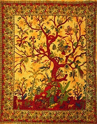 Plain Tree Of Life Art Hanging King Size Double Sofa Bed Cover Throw Decor Purple Green Blue White Red Orange - low-cost UK light shop.