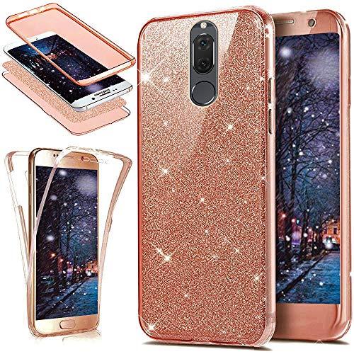 Kompatibel mit Huawei Mate 10 Lite Hülle,Full-Body 360 Grad Bling Glänzend Glitzer Klar Durchsichtige TPU Silikon Hülle Handyhülle Tasche Case Front Cover Schutzhülle für Huawei Mate 10 Lite,Rose Gold