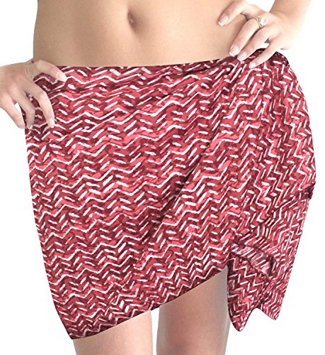 La Leela aus 100% Baumwolle Zick-Zack erkunden Wrap Bikini Sarong Frauen 78x21 Zoll rot (Kleid Zick-zack-gedruckt)