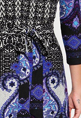 Anna Field Strickkleid mit Paisley Muster schwarz mit Blau oder Braun �?Minikleid mit Cache Coeur Ausschnitt �?Kleid Damen kurz �?Damenkleid elegant mit 3/4 Ärmel Royal Blau