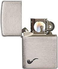 Zippo 200PL Pipe Plain Brushed Chrome Lighter (Silver)