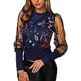 Onsoyours Camicia a Manica Lunga Maglia Ragazza Donna Collo Alto Trasparente Camicetta Floreali Top Primavera Serata Clubwear