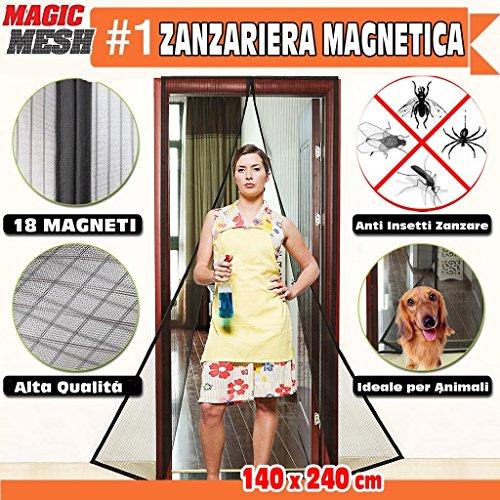 Zanzariera magnetica porta finestra chiusura magneti calamita anti zanzare tenda 240x140 cm nera