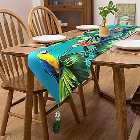 Les perroquets de chemin de table de velours–Memorecool Superbe Franges Decor toutes saisons sans la lumière 33x 180,3cm 1pièce, parrot3, 13x95inch