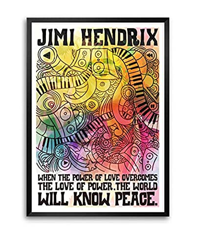 Lab No. 4 When the power of love overcomes Jimi Hendrix Motivational Quote Framed Poster A3 Size